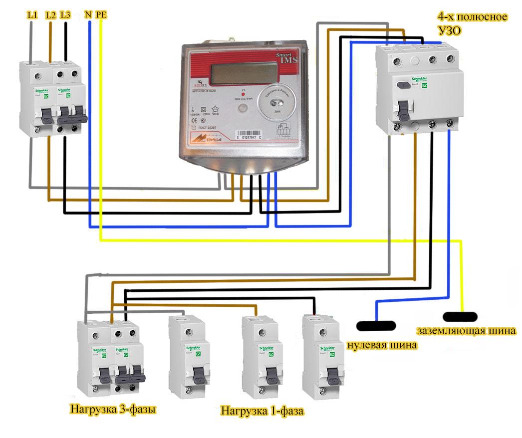 схема подключения 3-фазного счетчика с трансформатором тока