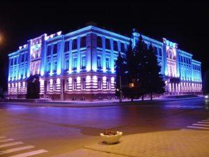 Архитектурное освещение трехэтажного здания