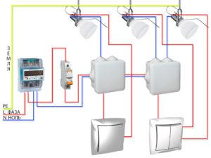 Схема установка многоклавишного выключателя с розеткой
