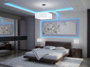 Единое решение освещения потолка и картины светодиодными лентами