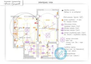 Пример расположения розеток и светильников в квартире на чертеже