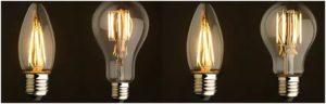 Внешний вид филаментных ламп