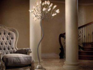 Напольный светильник в интерьере помещения