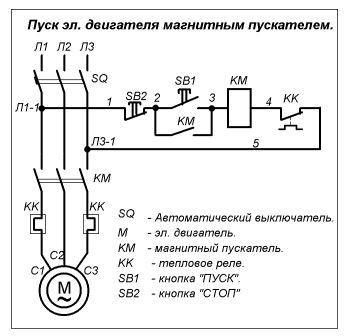 Эл схема подключения теплового реле