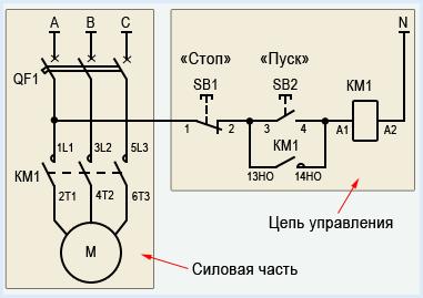 Рис. 7 Схема подключения контактора магнитного