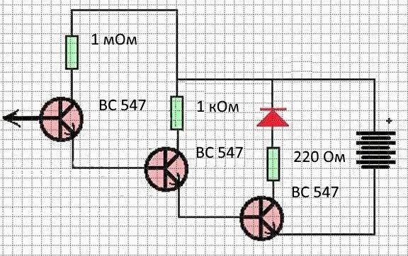 Простейшая рабочая схема сенсорного выключателя