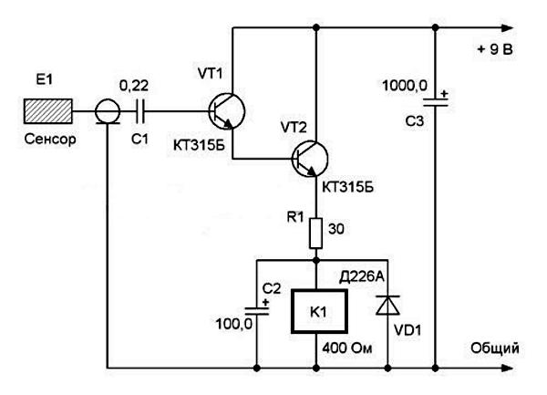 Схема усовершенствованного двухкаскадного сенсорного выключателя