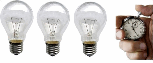 Лампочки и секундомер