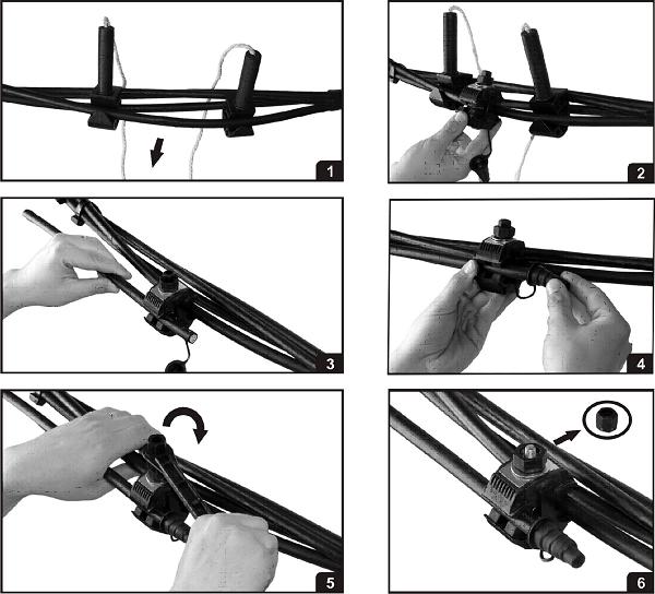 Подключение кабеля к воздушной линии с помощью зажима