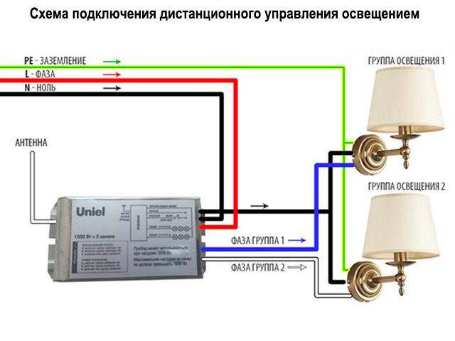 Схема подключения ДУ на 2 фазные группы