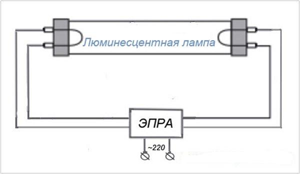 Схема с электронным ПРА