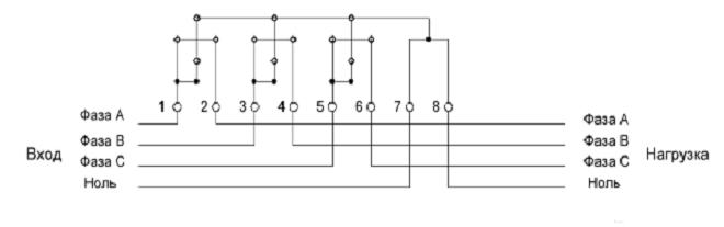 Порядок подключения 3-х фазного прибора
