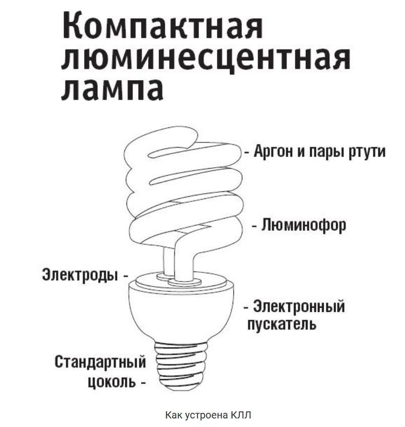 Устройство компактной люминисцентной лампочки