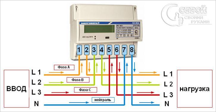 Схема включения счётчика