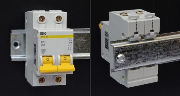 Установка автомата на DIN-рейку