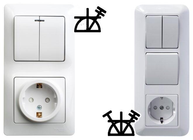 Обозначение блока выключателей с розеткой