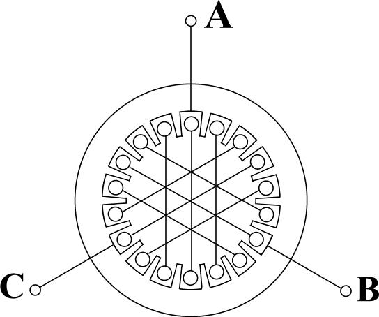 Размещение обмоток статора