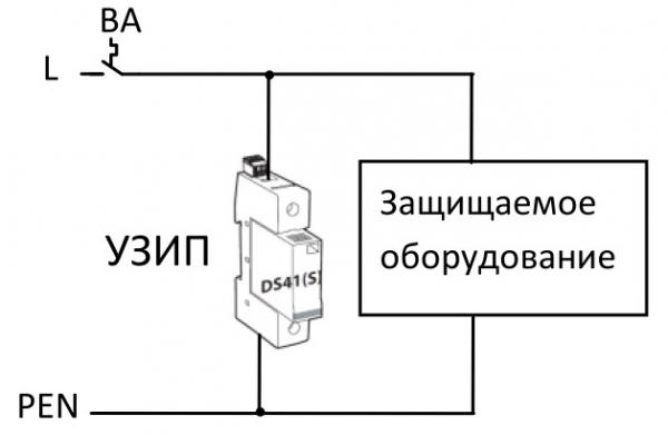 Схема включения ОИН (УЗИП)
