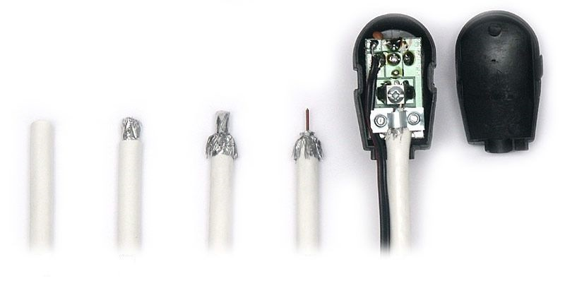 Этапы подготовки антенного кабеля