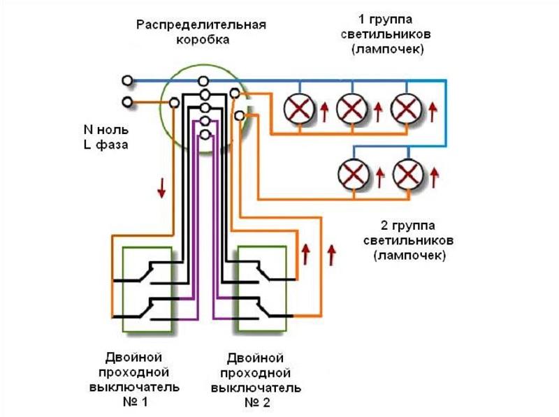 Схема управления двумя группами лампочек