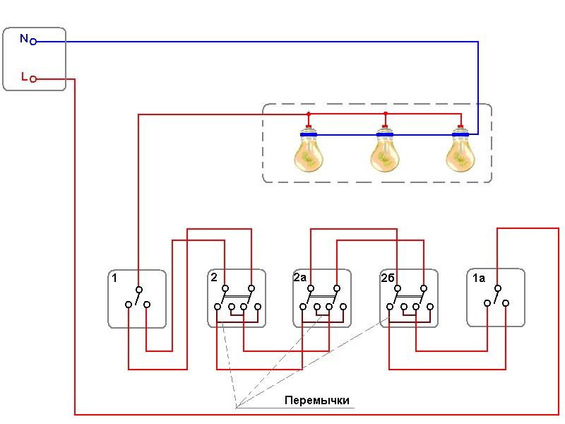 Управление светильником из пяти мест с дополнением одноклавишными выключателями «1» и «1 а»