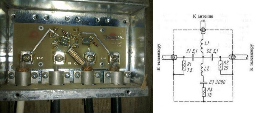 Схема простого антенного усилителя на 2 телевизора