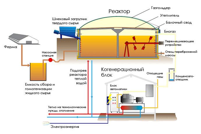 Принципиальная схема работы биогазовой установки