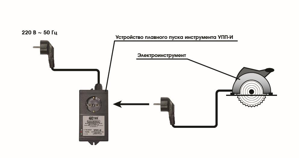 Подключение типового блока для плавного пуска электроинструмента