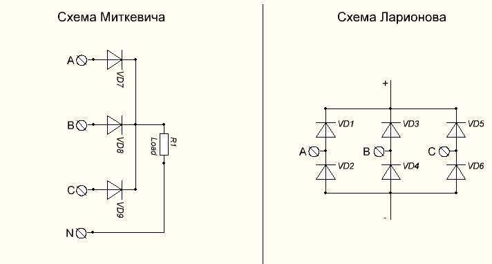 Схема приборов для преобразования тока