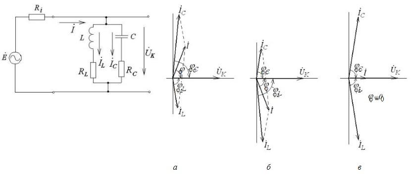 Электрические параметры и компоненты, векторные диаграммы напряжений и токов