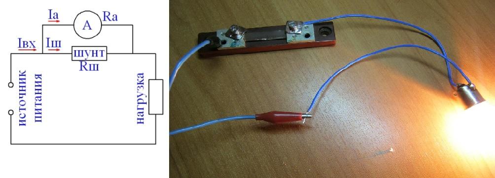 Как включается амперметр в цепь с шунтом