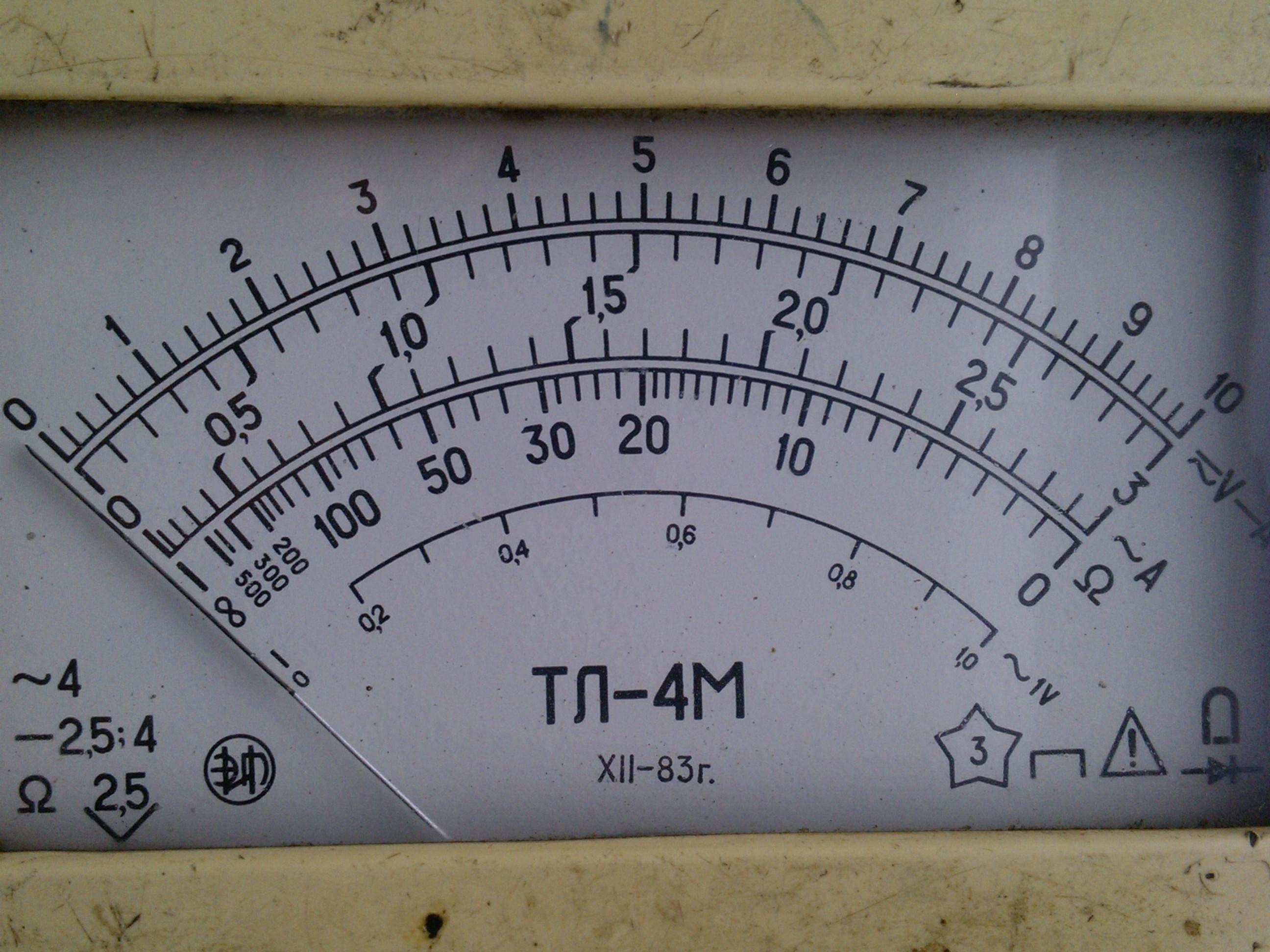 Шкала с нанесёнными условными обозначениями