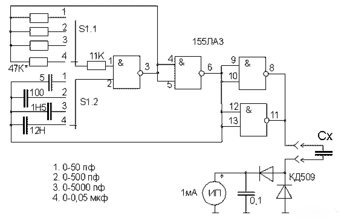 Схема измерителя ёмкости на микросхемах серии 155ЛА3