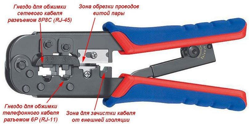 Клещи для прочного обжима сетевого кабеля