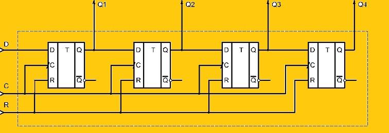 Схема 4-х разрядного регистра сдвига на триггерах