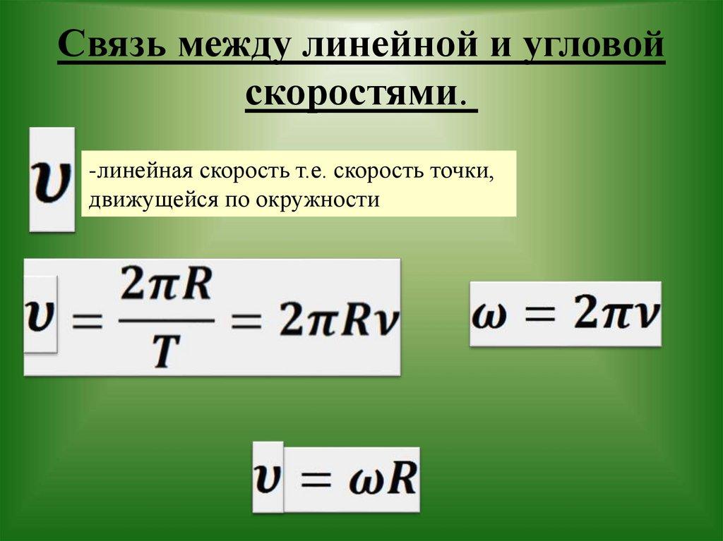 Связь между угловой и линейной скоростями