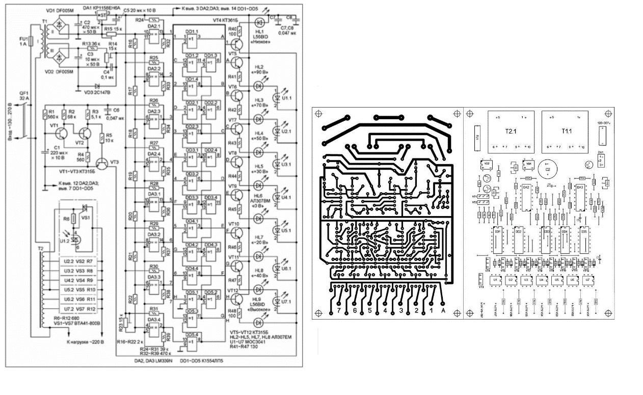Электрическая и монтажная схема, печатная плата