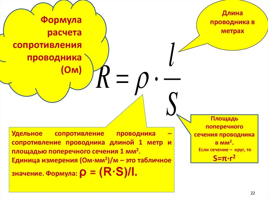Формула сопротивления проводника