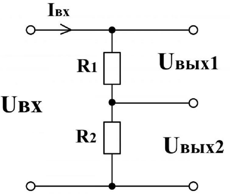 Схема делителя, выполненного на резисторах