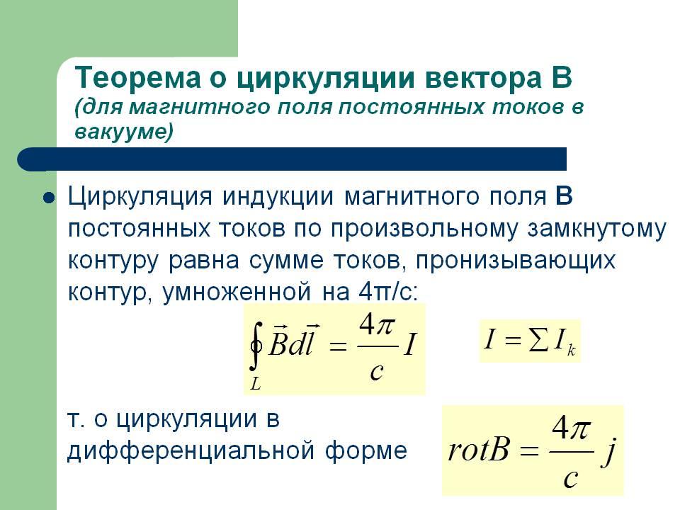Математическая формула теоремы о циркуляции
