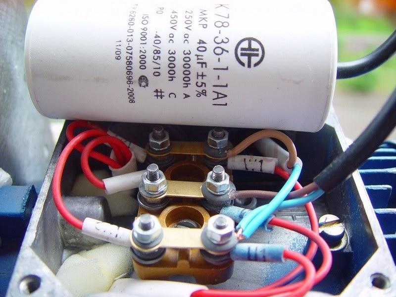 Подключение электродвигателя через конденсатор