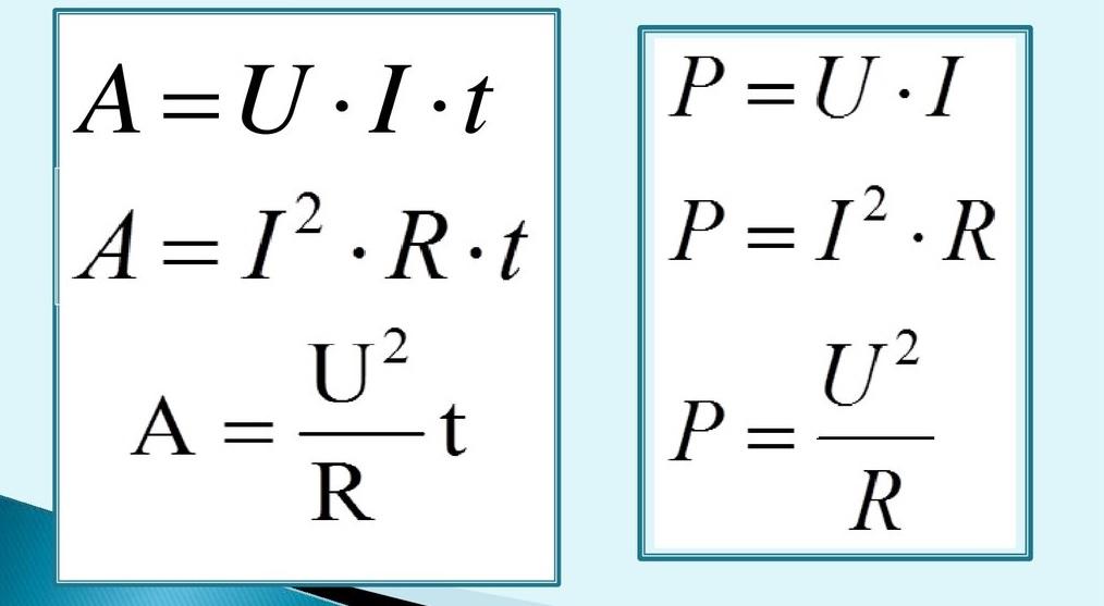 Работа и мощность электрического тока, основные формулы