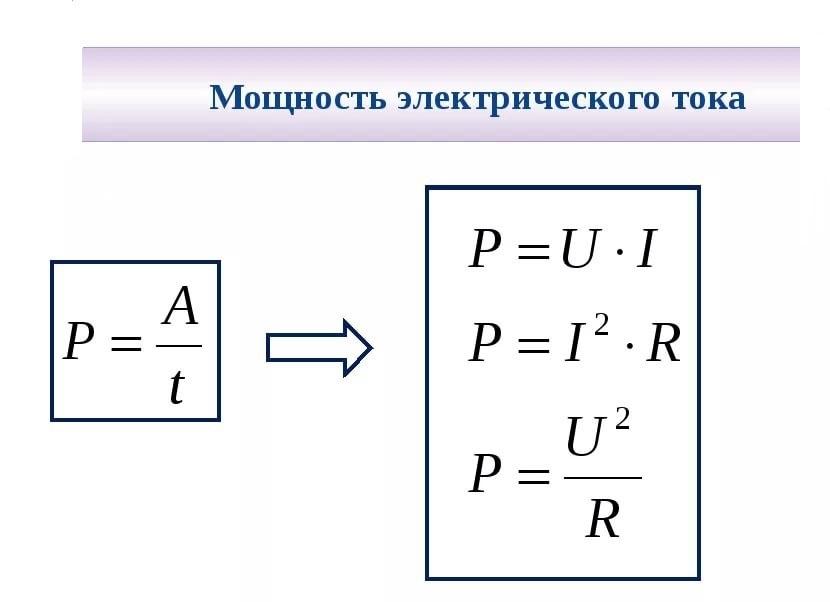 Определить мощность можно по следующим соотношениям силы тока, напряжения, электрического сопротивления
