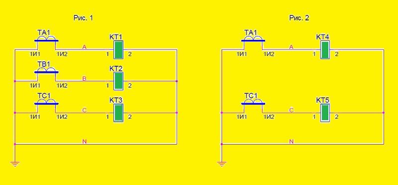 Схемы присоединения ТТ