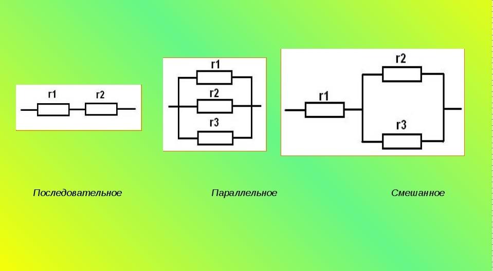 Разные виды соединения резисторов