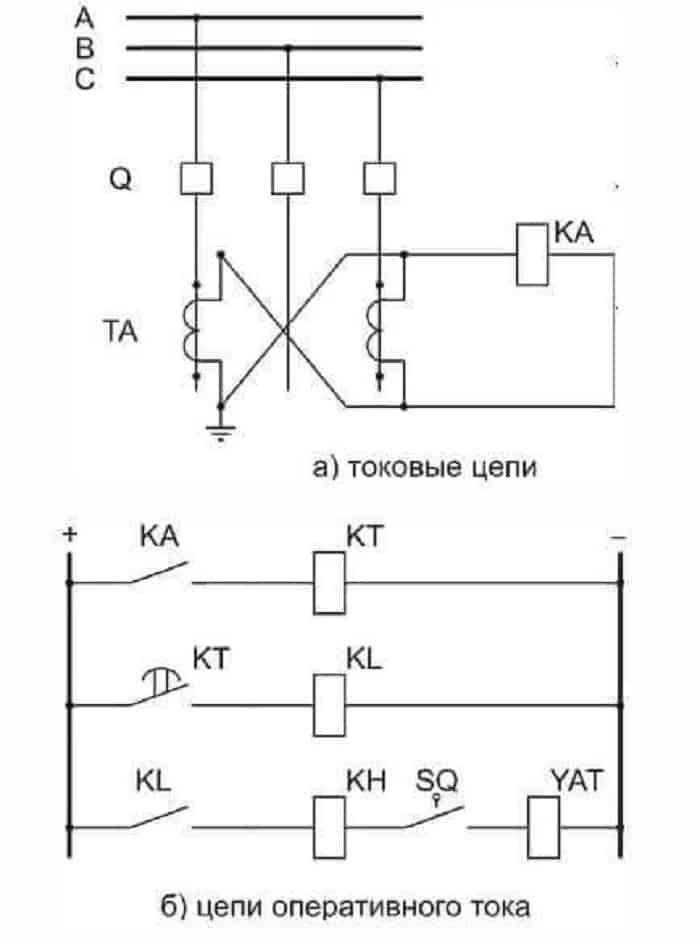 Схема с одним реле на оперативном токе