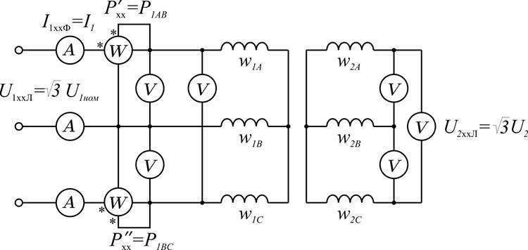 Схема опыта холостого хода трехфазного двухобмоточного трансформатора