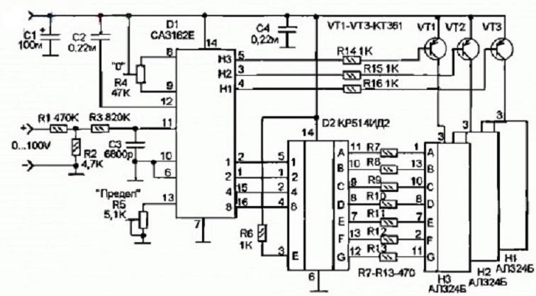 Схема вольтметра на АЦП СА31162