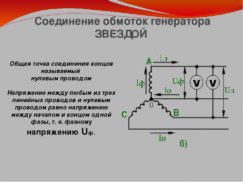 Схема соединения обмоток «звездой»