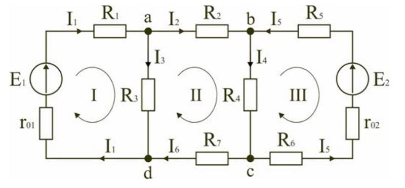 Пояснительная схема к расчету с двумя источниками